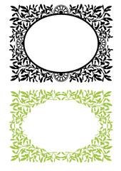 Cornici con foglie e rami di vischio