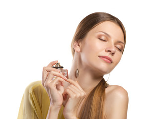 fashion woman  enjoying  perfume