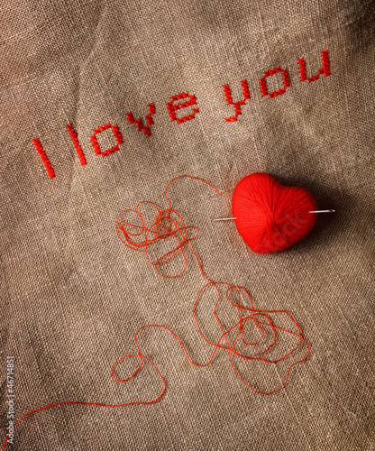 Valentine card with cross stich 'I love you'