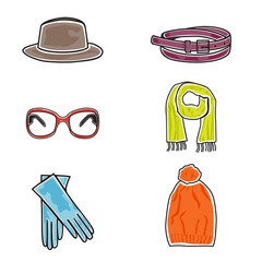 Fashion accessories icon set