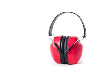 red earmuffs isolated on white background