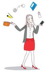 femme moderne jongle vie pro perso
