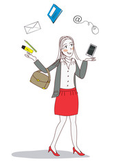 femme moderne jongle bureau