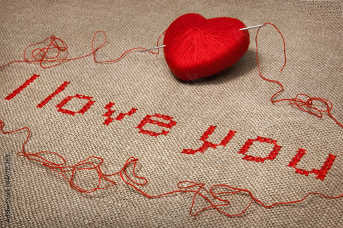 Valentine embroidery 'I love you' close-up