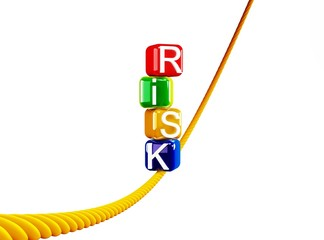 Risk colored blocks on a rope