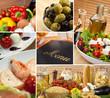 Healthy Italian Mediterranean Food Menu Montage
