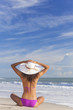 Sexy Woman Girl Sitting Sun Hat & Bikini on Beach