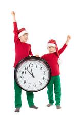 Boys in cap of Santa Claus