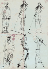 golfers collection (hand drawings into vector)