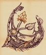 Dragon with a lotus flower and leaf