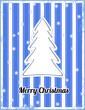 Blue striped christmas card