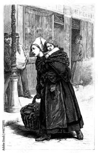 Traditional Woman & Child - Brittany - Bretonne