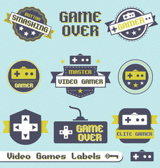 Vector Set: Vintage Video Game League Labels