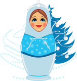 Snow maiden and Christmas fir tree