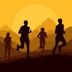 Marathon runners in wild nature mountain landscape background