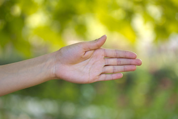 hand direction against nature