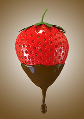 fresh red strawberry with liquid chocolate