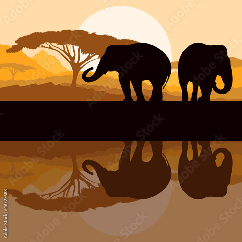Elephant family in wild Africa mountain nature landscape backgro