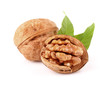 Walnuts with leaf