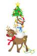 Tiere, Rentier, Schneemann, Pinguin, Weihnachtsbaum, Weihnachten