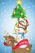 Tiere, Rentier, Schneemann, Pinguin, Weihnachten