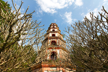 Chinese buddhist pagoda built in levels, for storing relics
