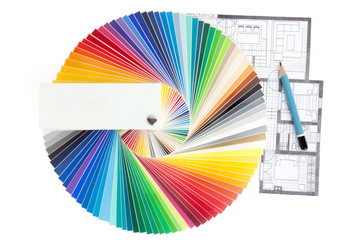 Color palette guide with architecture drawing, isolated on white