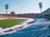 Empty stadium under snow