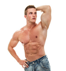Muscular male torso of bodybuilder, studio shot