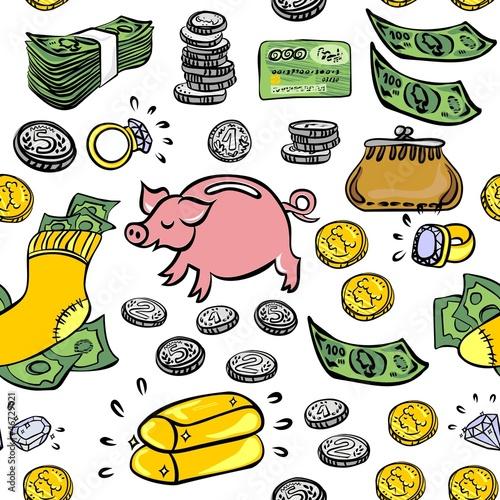 oszczędzanie inwestycje monety banknoty nieskończony deseń wzór