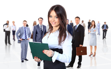 business woman leading her team isolated