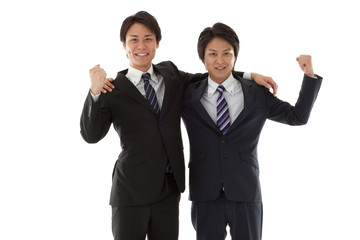 two young businessmen posing guts
