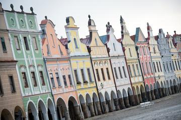 Facade of Renaissance houses in Telc, Czech Republic - UNESCO