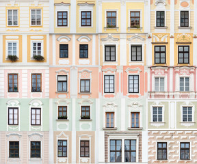 collection of windows from Telc, Czech Republic - UNESCO Site