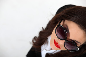 Businesswoman wearing sunglasses