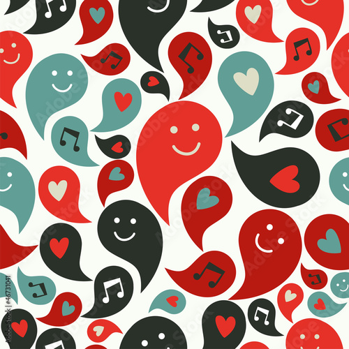 Smiling musical bubbles pattern