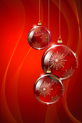 Christmas Glass Baubles on red  background