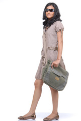 Girl carrying shoulder bag