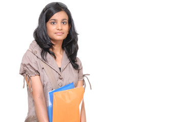 Indian pretty Girl holding folders