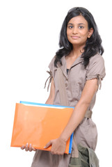 Girl holding folders and files