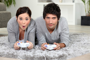 Couple playing video game.