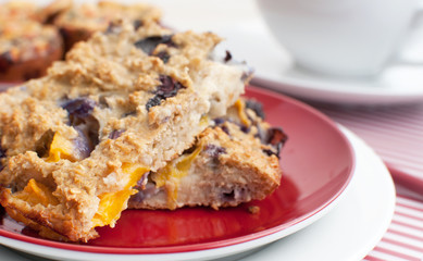 Oat squares with fruit for breakfast