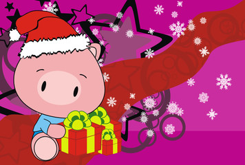pig baby claus cartoon background