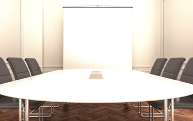 meeting room white table with empty projector screen