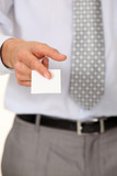 Executive with a blank businesscard
