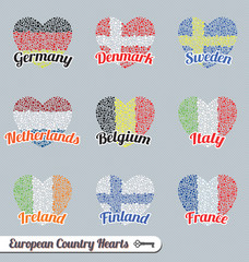 Vector Set: Europe Flag Heart Labels and Icons