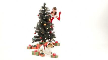 Snow Maiden near a Christmas tree