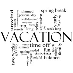 Vacation Word Cloud Concept in Black and White