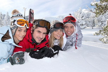 Friends on a skiing holiday together