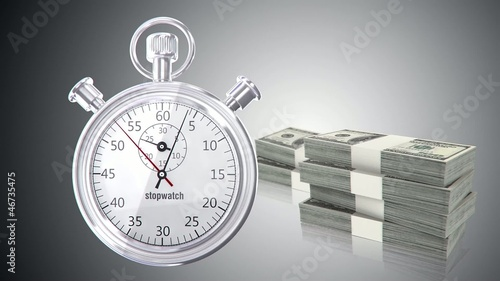 Stop watch animation with money